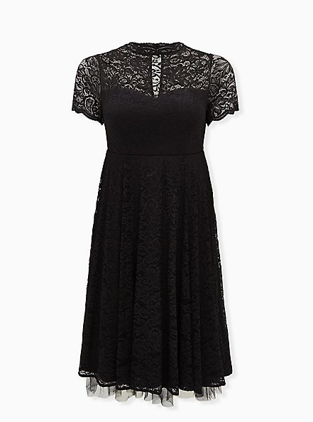 Special Occasion Black Lace & Tulle Midi Dress , DEEP BLACK, hi-res