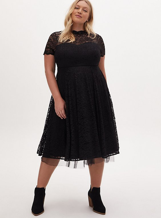 Plus Size Special Occasion Black Lace & Tulle Midi Dress , DEEP BLACK, hi-res