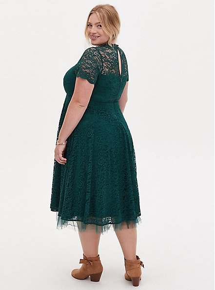 Special Occasions Green Lace & Tulle Midi Dress, FLORAL - GREEN, alternate