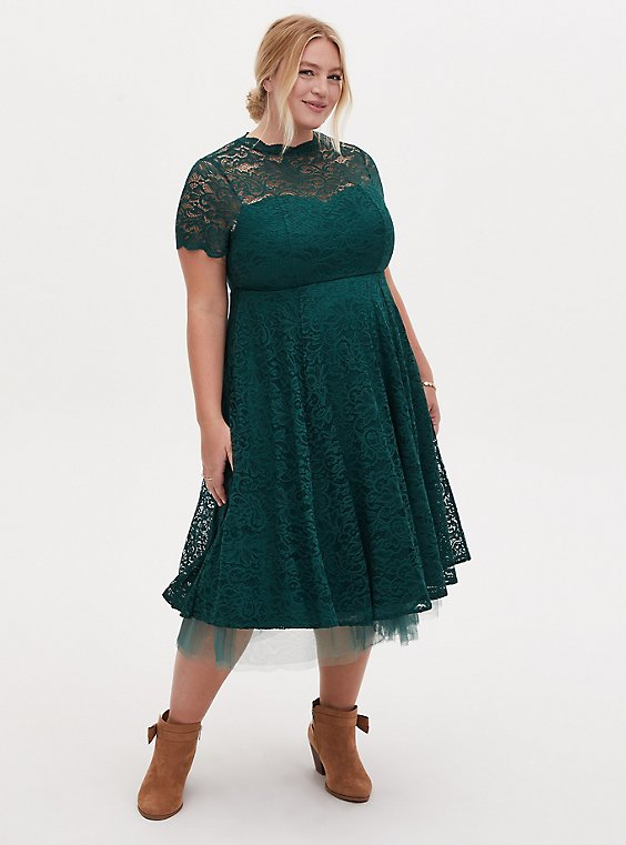 Special Occasions Green Lace & Tulle Midi Dress, , hi-res