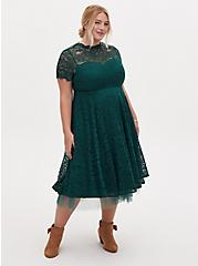 Special Occasions Green Lace & Tulle Midi Dress, FLORAL - GREEN, hi-res