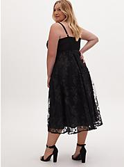 Special Occasion Black Embroidered Mesh & Sequin Midi Dress, DEEP BLACK, alternate