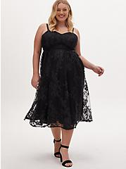 Special Occasion Black Embroidered Mesh & Sequin Midi Dress, DEEP BLACK, hi-res