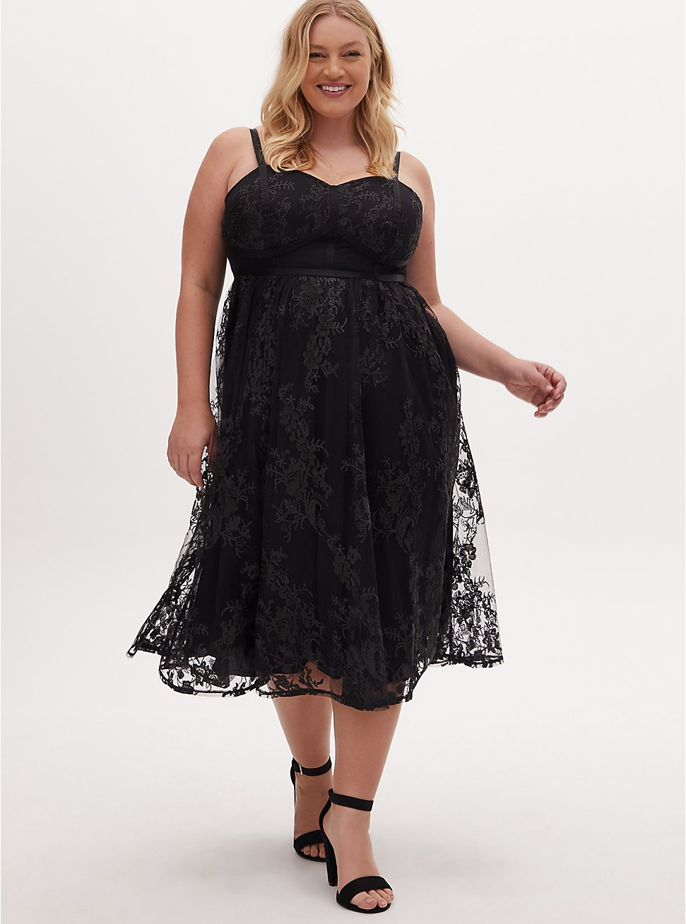 Plus Size Black & Pearl Sequin Embellished Mesh Sleeved