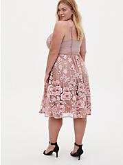 Special Occasion Taupe & Pink Floral Embroidered Mesh Dress, FAWN, alternate