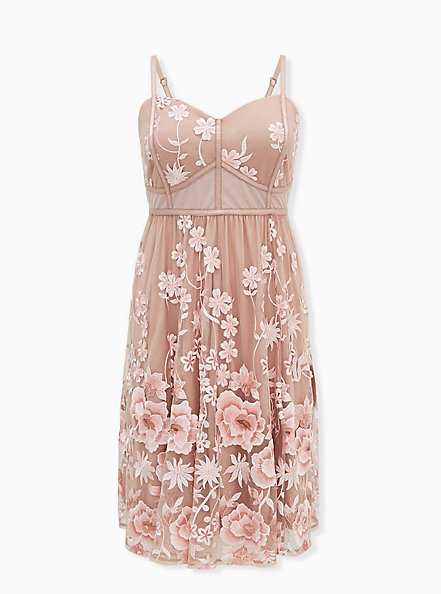 Special Occasion Taupe & Pink Floral Embroidered Mesh Dress, FAWN, hi-res