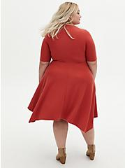 Red Terracotta Rib Handkerchief Skater Dress, TANDOORI SPICE, alternate