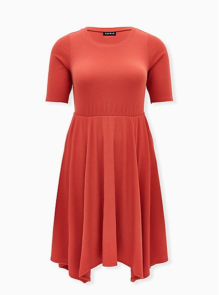 Red Terracotta Rib Handkerchief Skater Dress, TANDOORI SPICE, hi-res