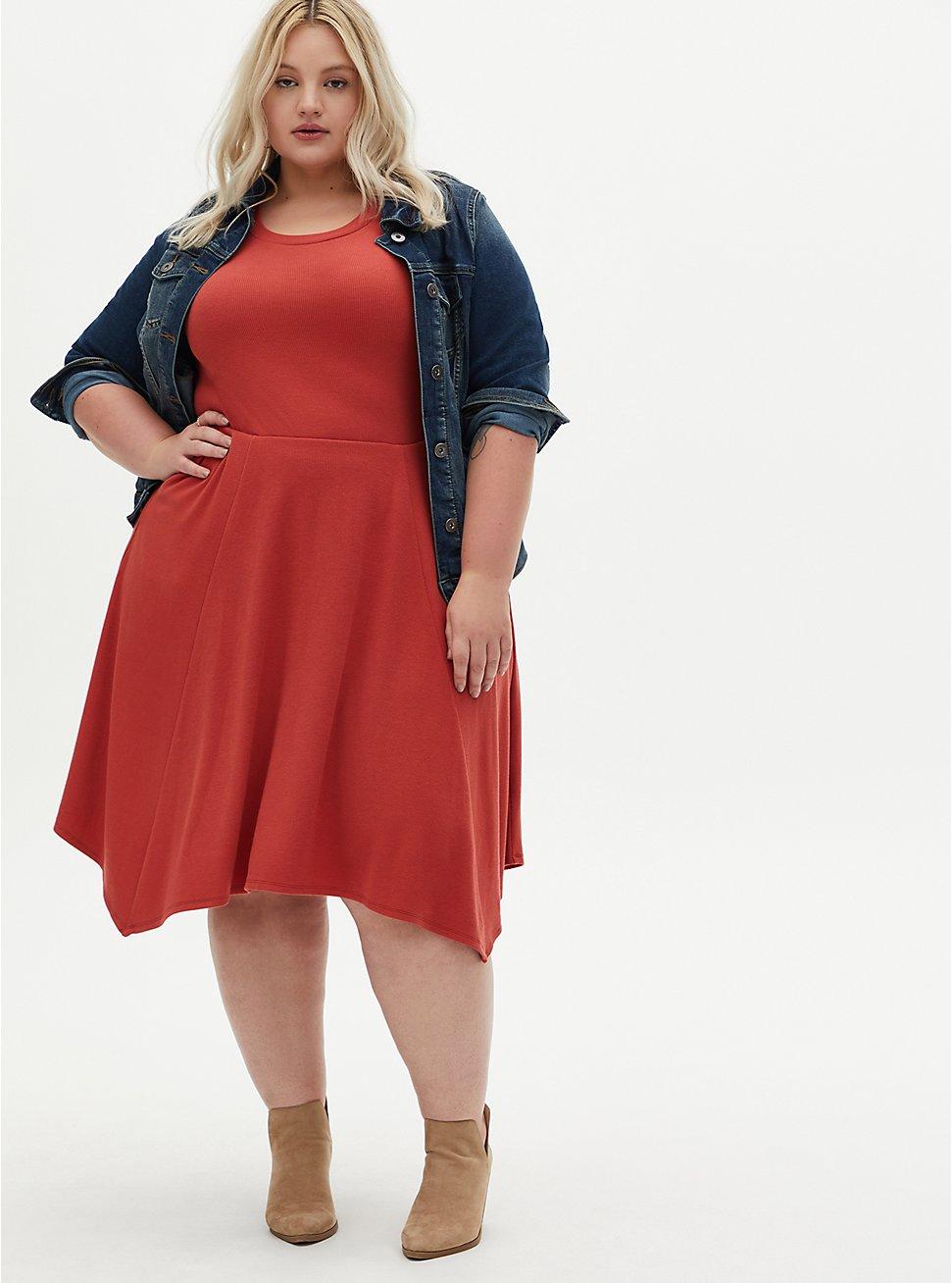 Plus Size Red Terracotta Rib Handkerchief Skater Dress, TANDOORI SPICE, hi-res