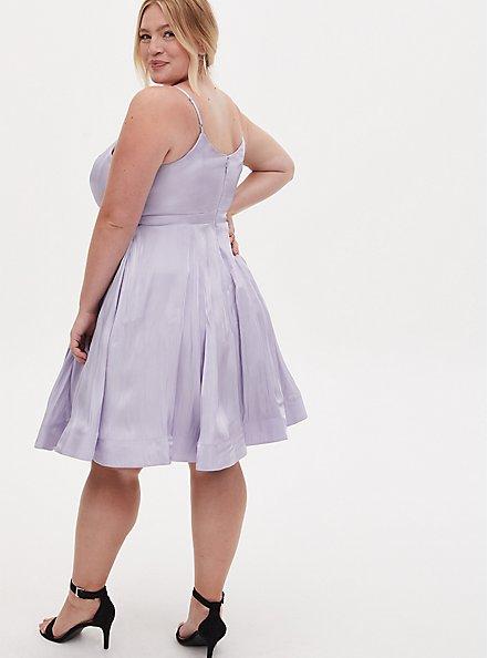 Special Occasion Lilac Purple Iridescent Satin Skater Dress, BLUE, alternate