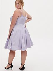 Plus Size Special Occasion Lilac Purple Iridescent Satin Skater Dress, BLUE, alternate