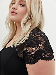 Super Soft Black Lace Sleeve Fluted Dress, DEEP BLACK, alternate