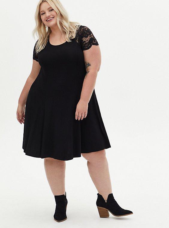 Super Soft Black Lace Sleeve Fluted Dress, DEEP BLACK, hi-res
