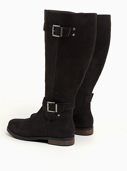 Black Faux Leather Dual Buckle Knee-High Boot (WW & Wide to Extra Wide Calf), BLACK, alternate