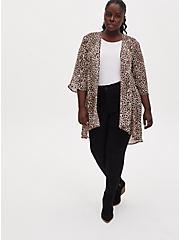 Leopard Chiffon Hi-Lo Kimono, ANIMAL, alternate