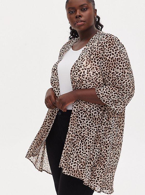 Leopard Chiffon Hi-Lo Kimono, ANIMAL, hi-res