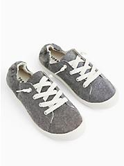 Plus Size Riley - Charcoal Grey Ruched Sneaker (WW), GREY  CHARCOAL, alternate