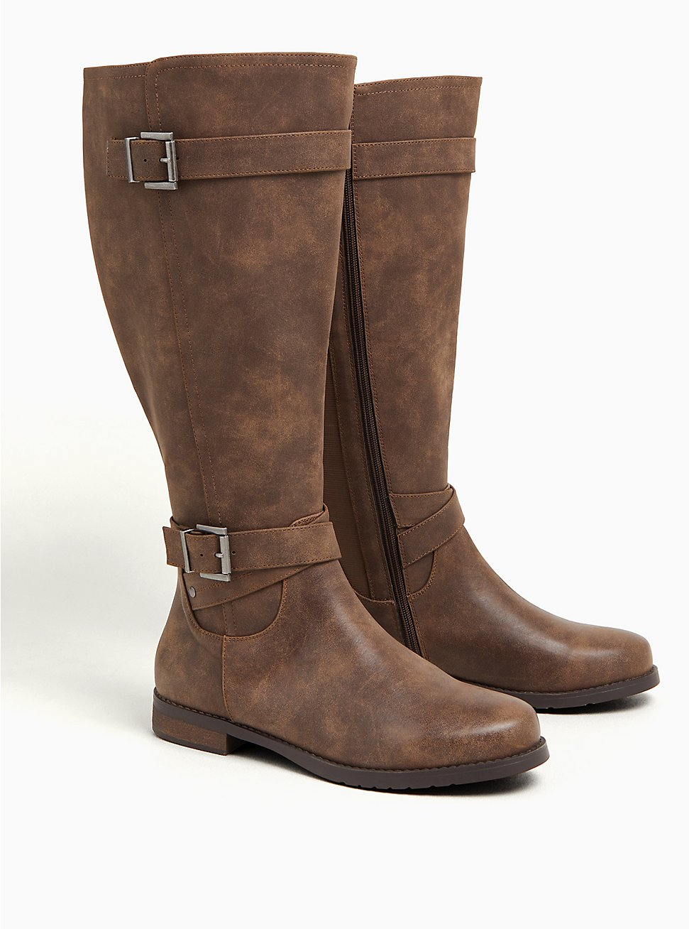 Cognac Faux Leather Dual Buckle Knee-High Boot (WW), BROWN, hi-res