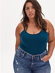 Teal Blue Scoop Neck Foxy Cami, , hi-res