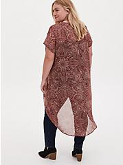 Brick Red Paisley Chiffon Hi-Lo Kimono, BOHO MEDALLION, alternate