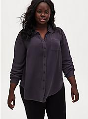 Dark Slate Grey Washed Rayon Button Front Blouse, NINE IRON, hi-res
