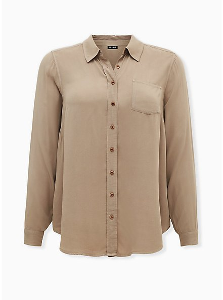 Washed Taupe Rayon Button Front Blouse, ATMOSPHERE, hi-res
