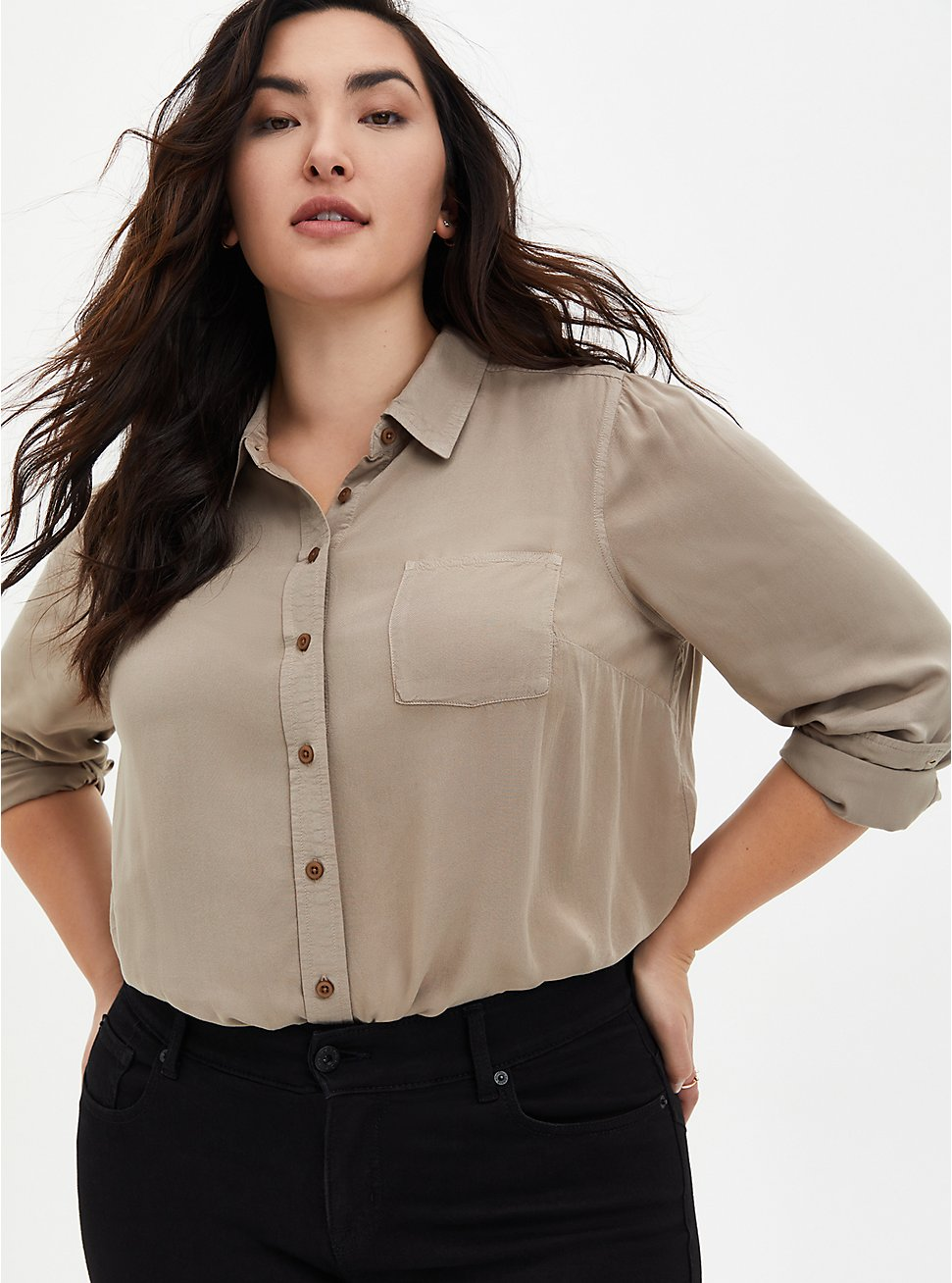 Plus Size Taupe Washed Rayon Button Front Blouse, ATMOSPHERE, hi-res