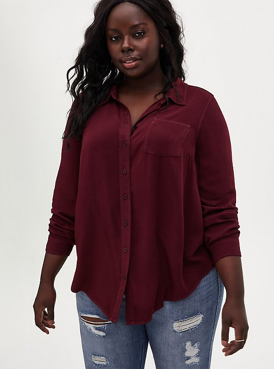 Burgundy Purple Washed Rayon Button Front Blouse, WINETASTING, hi-res