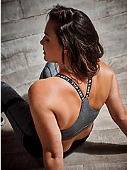 I Can And I Will Black Space-Dye Racerback Wicking Sports Bra, SPACE DYE, hi-res