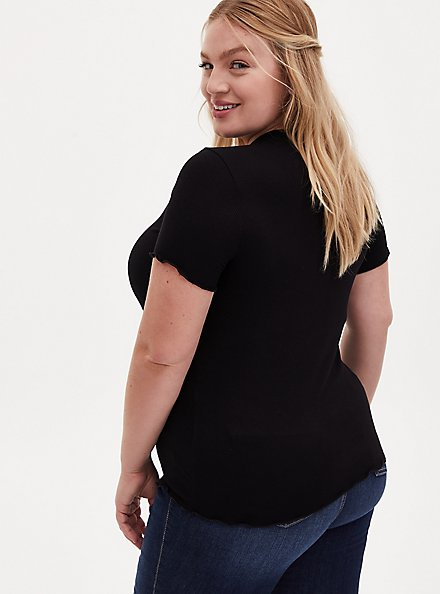 Slim Fit Crew Tee - Super Soft Rib Black , DEEP BLACK, alternate