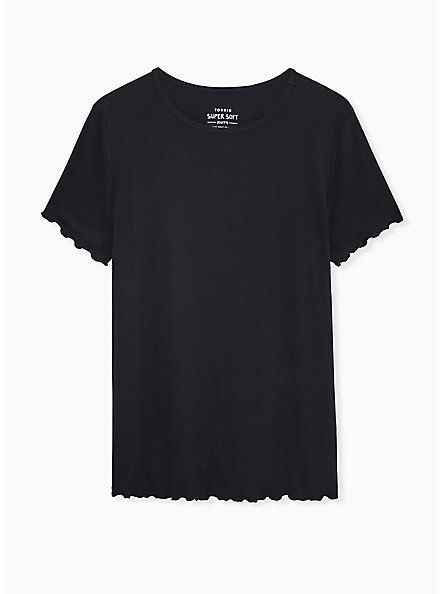 Slim Fit Crew Tee - Super Soft Rib Black , DEEP BLACK, hi-res