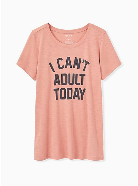 I Can't Adult Today Slim Fit Crew Tee - Slub Dusty Coral, DESERT SAND, hi-res