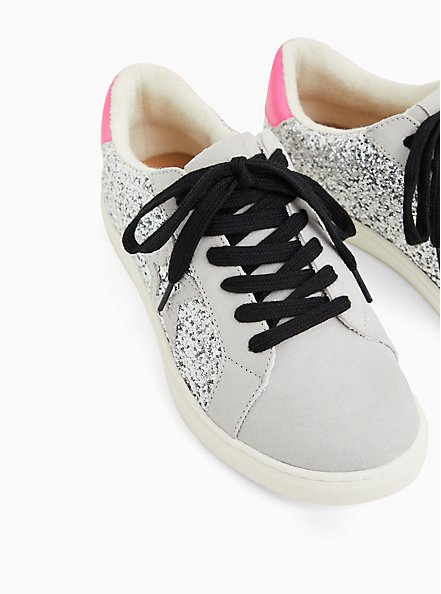 White Glitter Lowtop Lace-Up Sneaker (WW), WHITE, alternate