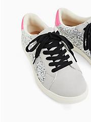 White Glitter Lowtop Lace-Up Sneaker (WW), WHITE, alternate