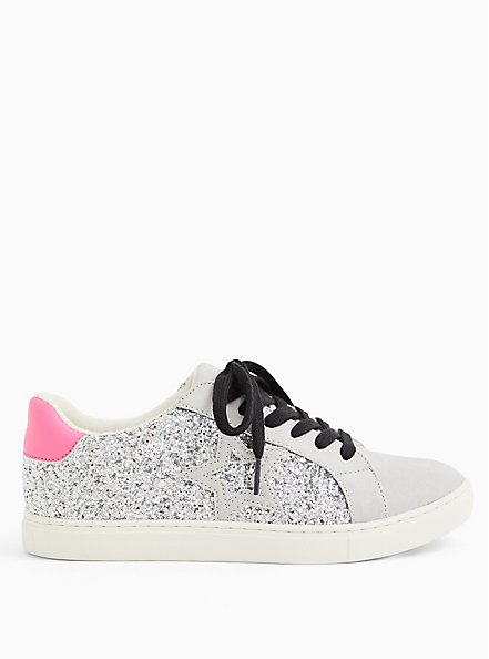 White Glitter Lowtop Lace-Up Sneaker (WW), WHITE, hi-res