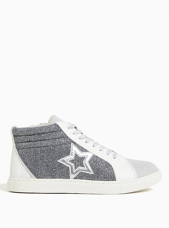 White Faux Leather & Silver Mid-Top Sneaker (WW), , hi-res
