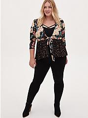 Plus Size Black Mixed Floral Crepe Tie Front Babydoll Kimono, FLORAL - BLACK, alternate