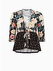 Black Mixed Floral Crepe Tie Front Babydoll Kimono, FLORAL - BLACK, hi-res