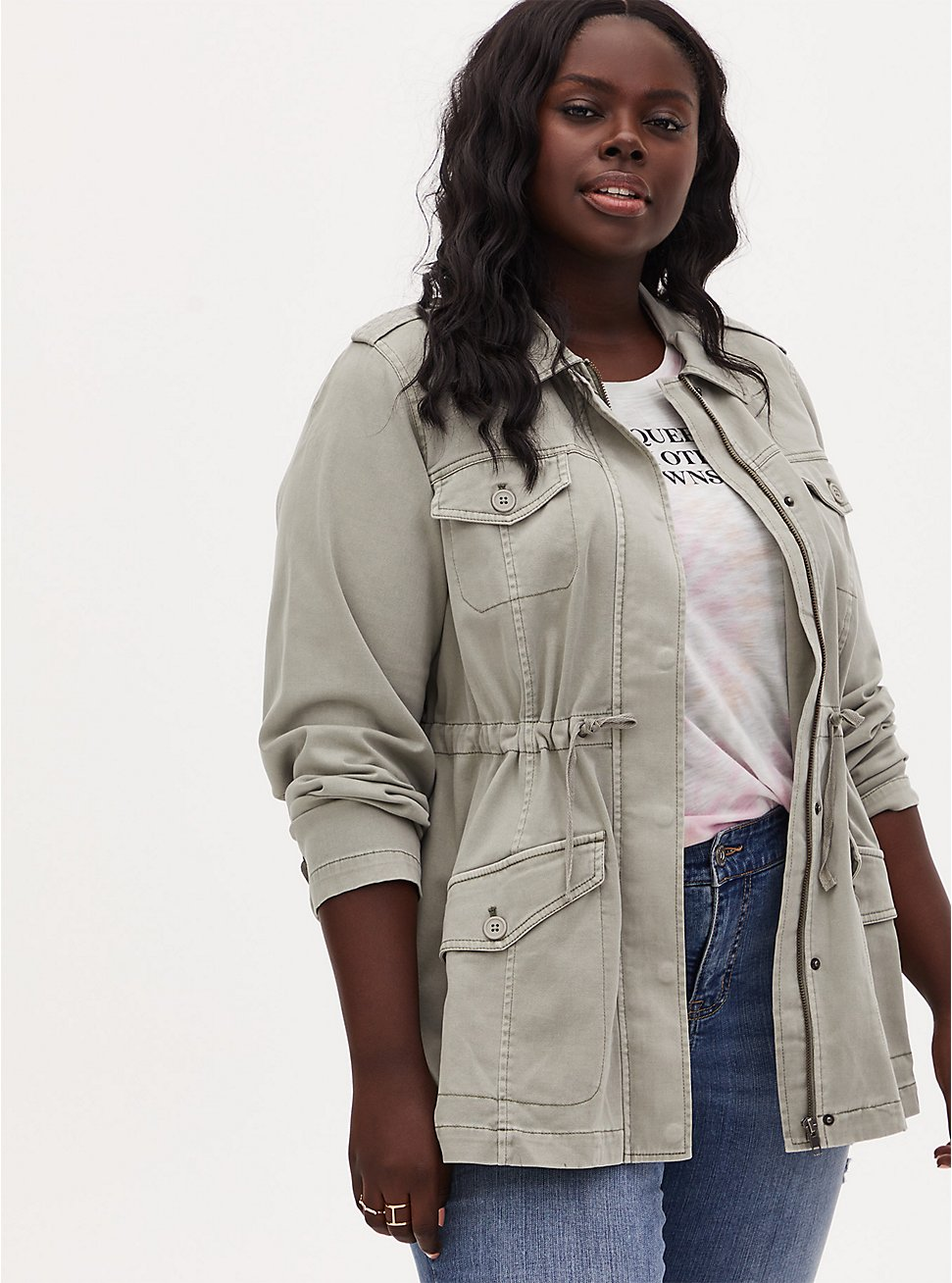 Plus Size Sage Green Twill Lace-Up Back Drawstring Anorak, SEAGRASS, hi-res