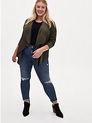 Olive Green Faux Suede Drape Front Jacket, ROSIN, alternate
