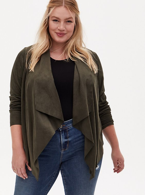 Olive Green Faux Suede Drape Front Jacket, , hi-res