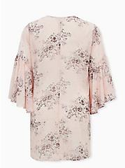 Breast Cancer Awareness - Light Pink Floral Chiffon Kimono, FLORAL - PINK, alternate