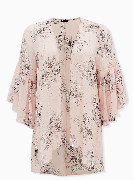 Breast Cancer Awareness - Light Pink Floral Chiffon Kimono, FLORAL - PINK, hi-res