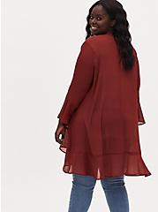 Plus Size Brick Red Crinkled Chiffon Ruffle Trim Hi-Lo Kimono, MADDER BROWN, alternate
