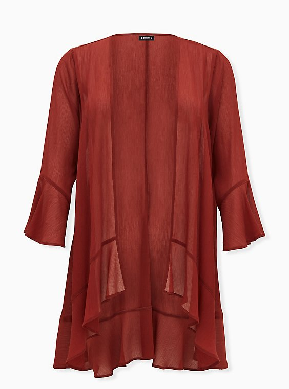 Brick Red Crinkled Chiffon Ruffle Trim Hi-Lo Kimono, , flat