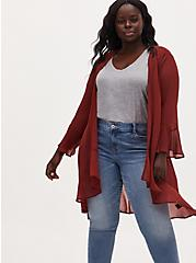 Plus Size Brick Red Crinkled Chiffon Ruffle Trim Hi-Lo Kimono, MADDER BROWN, hi-res