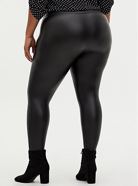 Plus Size Studio Slim Fix Black Faux Leather & Premium Ponte Pull-On Pixie Pant , DEEP BLACK, alternate