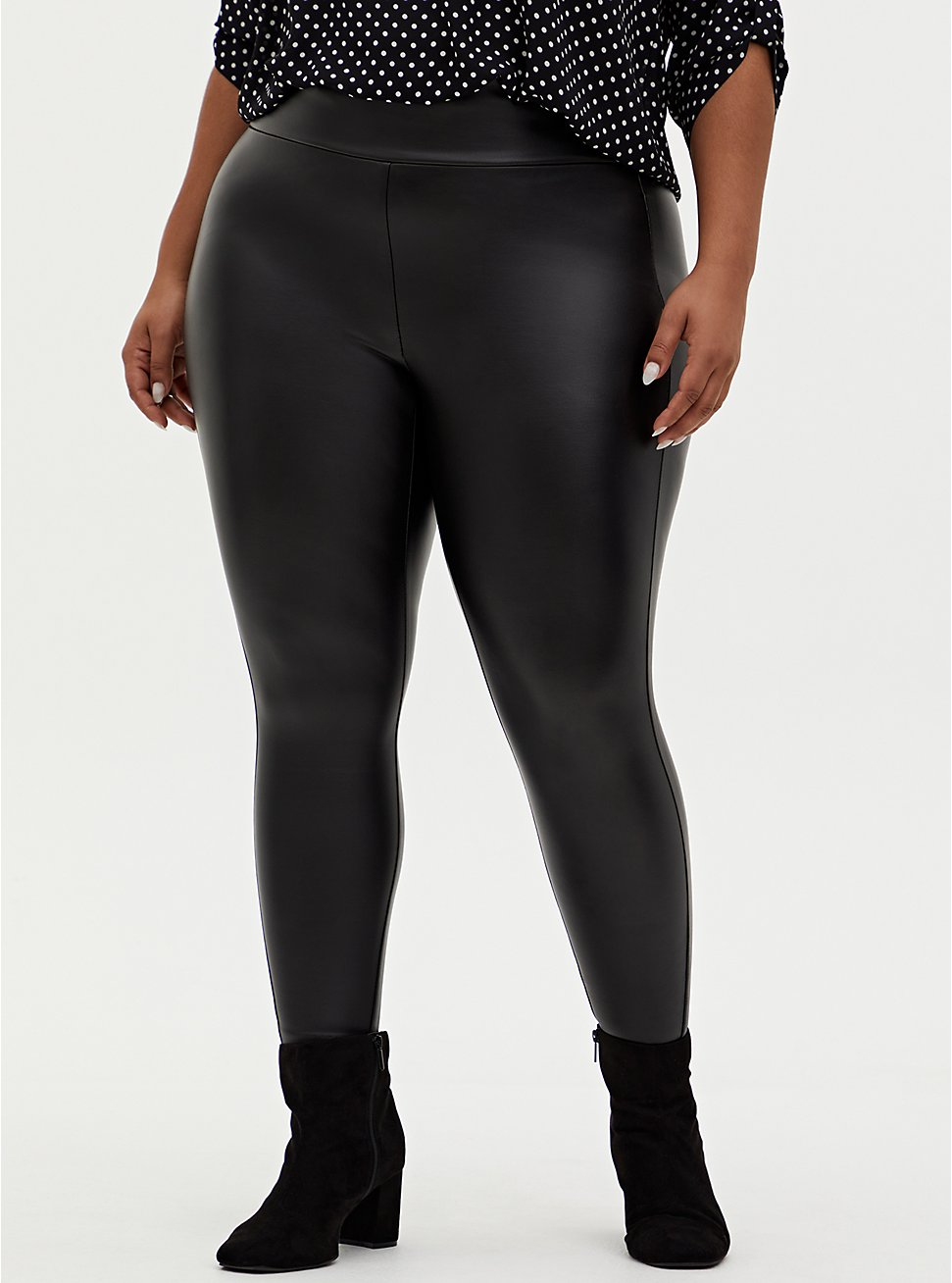 Plus Size Studio Slim Fix Black Faux Leather & Premium Ponte Pull-On Pixie Pant , DEEP BLACK, hi-res