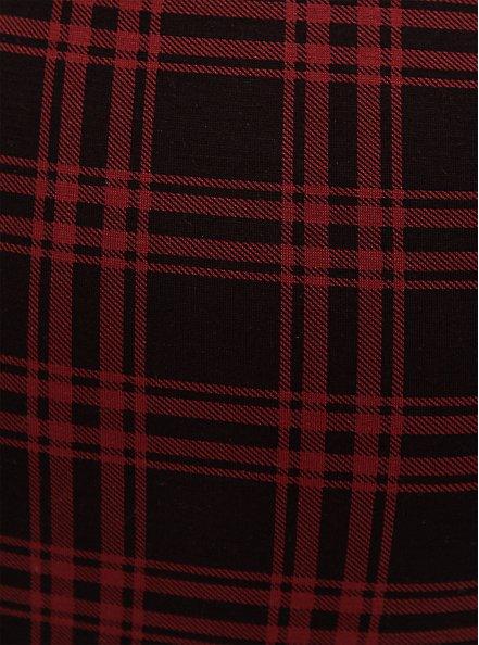 Plus Size Studio Ponte Slim Fix Red Plaid Pull-On Pixie Pant, PLAID, alternate