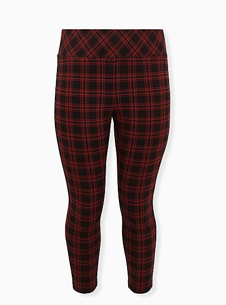 Plus Size Studio Ponte Slim Fix Red Plaid Pull-On Pixie Pant, PLAID, hi-res